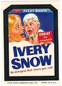 """1974 WACKY PACKAGES ORIGINAL 8TH SERIES """"IVERY SNOW"""" STICKER"""