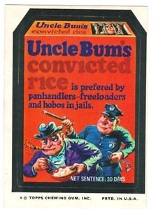 """1974 WACKY PACKAGES ORIGINAL 10TH SERIES """"UNCLE BUM'S RICE"""" STICKER CARD"""