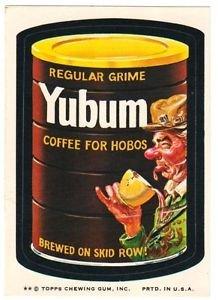 "1974 WACKY PACKAGES ORIGINAL 8TH SERIES ""YUBUM COFFEE"" STICKER CARD"