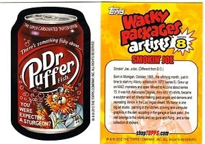 "2012 WACKY PACKAGES SERIES 8 BIO CARD ""DR.PUFFER"" SMOKIN'JOE"