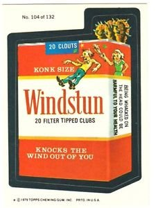 "1979 WACKY PACKAGES 2ND SERIES ""WINDSTUN CIGARETTES"" #104 STICKER CARD"
