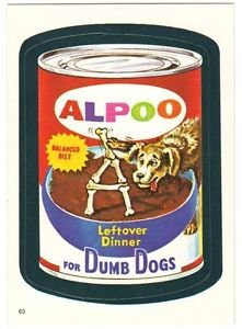 "Topps WACKY PACKAGES 1982 SERIES ALBUM STICKER ""ALPOO DOG FOOD"" #63"