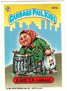"""1986 GARBAGE PAIL KIDS ORIGINAL 4TH SERIES """"GRETA GARBAGE"""" #141b STICKER CARD"""