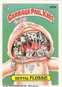 "1986 GARBAGE PAIL KIDS ORIGINAL 5th SERIES ""DENTAL FLOSSIE"" #203b  NM"