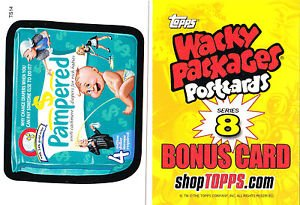 """2012 WACKY PACKAGES POSTCARDS SERIES8 """"""""PAMPERED"""""""" BONUS CARD #TS14"""