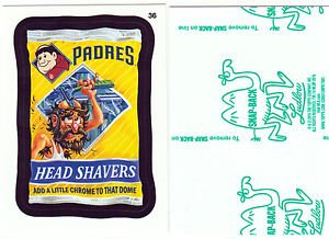 """2016 WACKY PACKAGES BASEBALL SERIES1 GREEN LUDLOW """"SD PADRES HEAD SHAVERS"""" #36"""