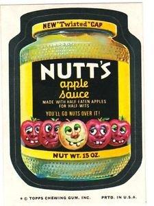 """1974 WACKY PACKAGES ORIGINAL 10TH SERIES """"NUTT'S APPLE SAUCE"""" STICKER CARD"""