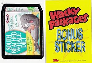 "2007 WACKY PACKAGES ANS6 ""SOUTH BEACHED WHALE DIET"" B5 BONUS STICKER CARD"