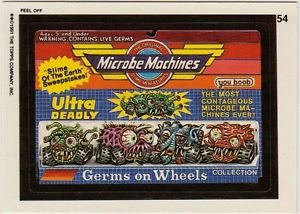"""WACKY PACKAGES 1991 SERIES """"MICROBE MACHINES"""" #54 STICKER CARD"""