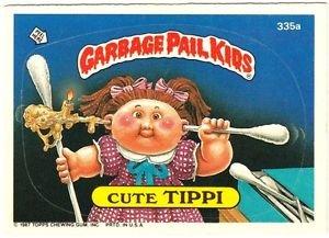 """1987 GARBAGE PAIL KIDS ORIGINAL 9TH SERIES """"CUTE TIPPI"""" #335a STICKER CARD"""