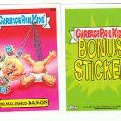 """2015 GARBAGE PAIL KIDS SERIES 1  """"DEMOLISHED DAMON"""" B9b BONUS STICKER"""