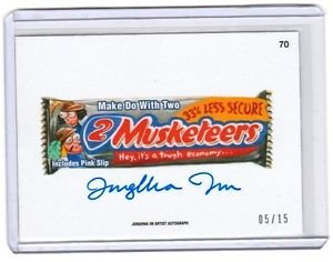 "2015 WACKY PACKAGES SERIES 1 ""2 MUSKETEERS"" ARTIST AUTOGRAPH by JUNGHWA IM 05/15"