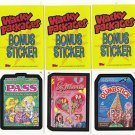 "2007 WACKY PACKAGES ALL NEW SERIES 6 (ANS6) ""THREE BONUS STICKERS"" B1,B2,B3"