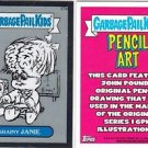 "2013 CHROME GARBAGE PAIL KIDS SKETCH CONCEPT ""BRAINY JANIE"" 27a PENCIL ART CARD"