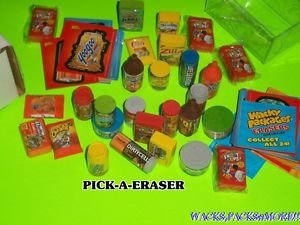 """WACKY PACKAGES 2ND SERIES """"PICK-A-ERASER"""" (PICK 1 ) + MATCHING STICKER   GPK"""