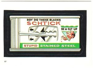"""1986 WACKY PACKAGES ALBUM SERIES STICKER """"SCHTICK BLADES"""" #67 ONLY 99 CENTS"""