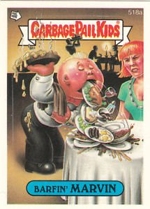 "1988 GARBAGE PAIL KIDS ORIGINAL 13th SERIES ""BARFIN'MARVIN"" #518a  NM"