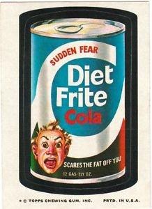 "1974 WACKY PACKAGES ORIGINAL 10TH SERIES ""DIET FRITE COLA"" STICKER"
