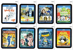 """2011 WACKY PACKAGES ALL NEW SERIES 8 (ANS8) """"GO TO THE MOVIES"""" SET 8/8 NM+"""