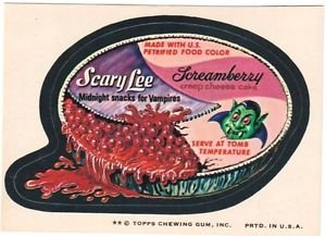 """1974 WACKY PACKAGES ORIGINAL 8th SERIES """"SCARY LEE"""" STICKER"""