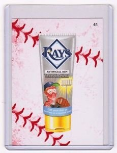 """2016 WACKY PACKAGES BASEBALL SERIES 1 LACE BORDER """"TB RAYS TANNING LOTION"""" #41"""