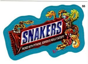 """2013 WACKY PACKAGES ALL NEW SERIES 10 {ANS10} BLUE BORDER """"SNAKERS"""" #55"""