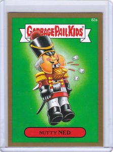 "2014 GARBAGE PAIL KIDS 2ND SERIES GOLD BORDER ""NUTTY NED"" #82a STICKER CARD"