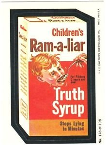 """1980 WACKY PACKAGES 3RD SERIES """"RAM-A-LIAR SYRUP"""" #178 STICKER CARD"""