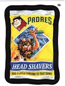 """2016 WACKY PACKAGES BASEBALL SERIES 1 """"PADRES HEAD SHAVERS"""" #36 STICKER CARD"""