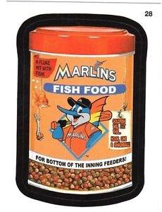 "2016 WACKY PACKAGES BASEBALL SERIES 1 ""MARLINS FISH FOOD"" #28 STICKER CARD"