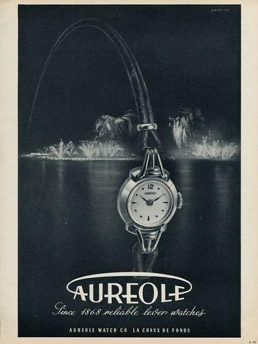 Aureole Watch Company 1953 Swiss Ad La Chaux-de-Fonds Switzerland Suisse Advert