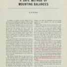 1949 A Safe Method of Mounting Balances 1949 Swiss Magazine Article Horology Horlogerie Suisse