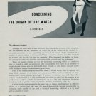 1956 Concerning the Origin of the Watch by L. Defossez  Vintage 1956 Swiss Magazine Article