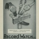 1949 Record Watch Company Geneva Vintage 1949 Swiss Ad Suisse Advert Switzerland Horology