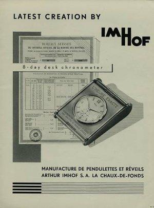Arthur Imhof Clock Company 1956 Swiss Ad La Chaux-de-Fonds Switzerland Suisse