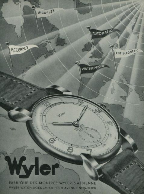 1949 Wyler Watch Company Bienne Switzerland Vintage 1949 Swiss Ad Suisse Advert Horlogerie