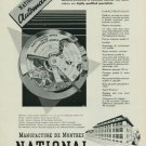 1949 National Watch Company Switzerland Vintage 1949 Swiss Ad Suisse Advert Horology Horlogerie