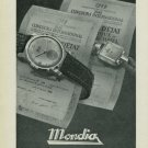 1949 Mondia Watch Company Switzerland Paul Vermot & Cie Vintage 1949 Swiss Ad Suisse Advert