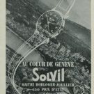 1949 Solvil Watch Company Switzerland Vintage 1949 Swiss Ad Suisse Advert