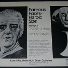 Edward H. Weiss Vintage 1971 Art Exhibition Ad Famous Faces - Heroic Size
