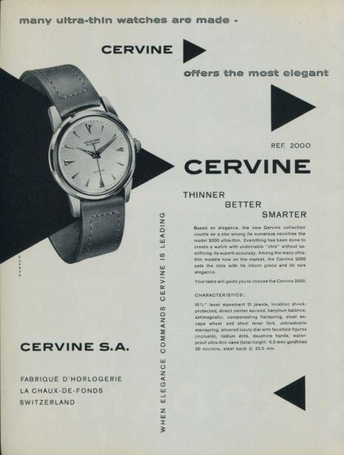 Cervine Watch Company Switzerland Vintage 1956 Swiss Ad Suisse Advert Horlogerie