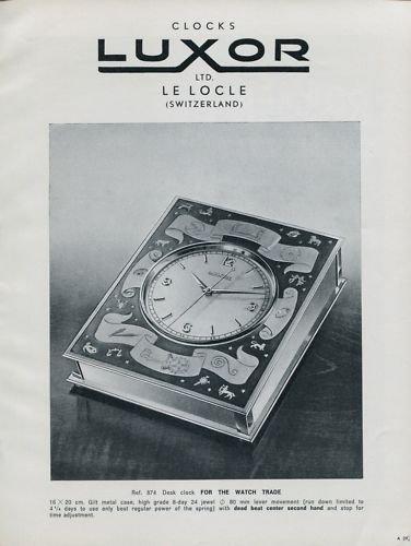 1956 Luxor Clock Company Le Locle Switzerland Vintage Swiss Print Ad Publicite Suisse Advert