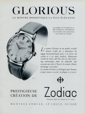 1956 Zodiac Watch Company Zodiac Glorious Advert Vintage 1956 Swiss Ad Suisse Advert
