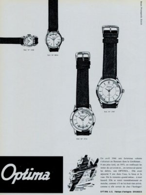 Optima Watch Company 1956 Swiss Ad Granges Switzerland Suisse Advert Horlogerie