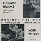 1969 Leonard Brooks and York Wilson 1969 Art Exhibition Ad Advert Roberts Gallery, Toronto