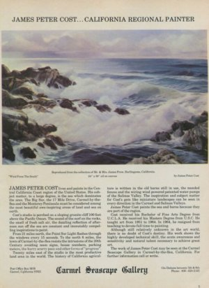 1968 James Peter Cost Wind from the South Vintage 1968 Art Ad Advertisement