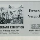 1974 Fernand Vergucht Vintage 1974 Art Exhibition Ad Nahan Galleries, New Orleans Publicite Advert