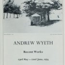 1974 Andrew Wyeth Pines in the Snow Advert Vintage 1974 Art Exhibition Ad Advertisement