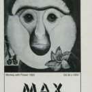 1974 Max Ernst Monkey with Flower Vintage 1974 Art Exhibition Ad Galerie Beyeler, Basel, Switzerland