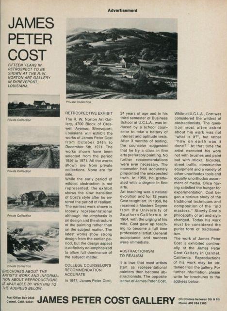 James Peter Cost 1971 Retrospective Art Exhibition Ad Advert R W Norton Art Gallery Shreveport